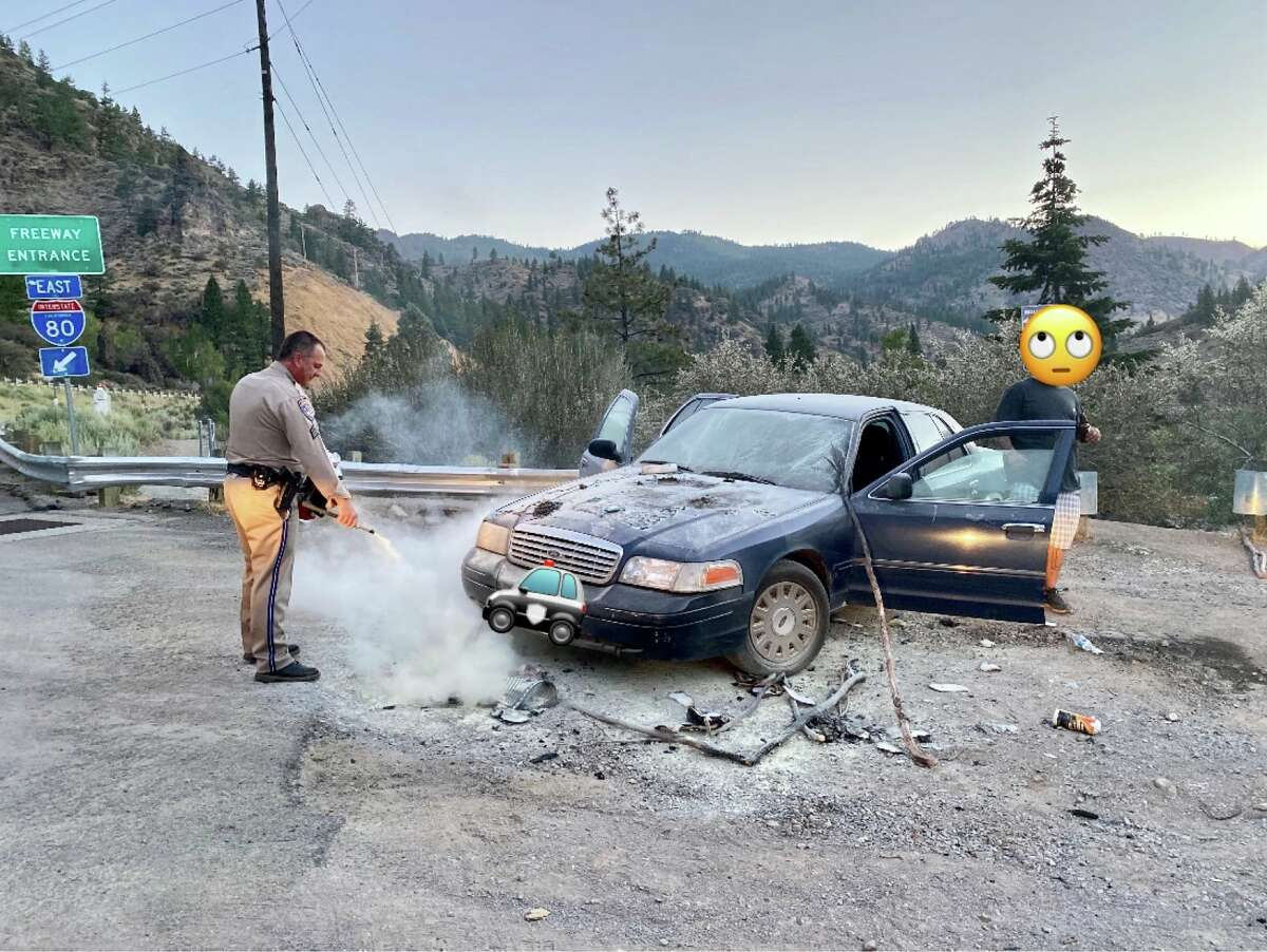 """A man set his car ablaze to scare away """"bears"""" on Interstate 80 on Thursday, CHP said."""