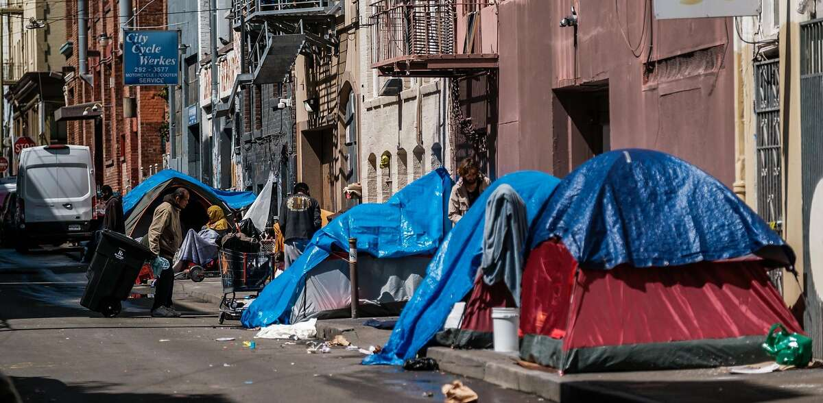 A row of homeless tents in the Tenderloin in San Francisco.