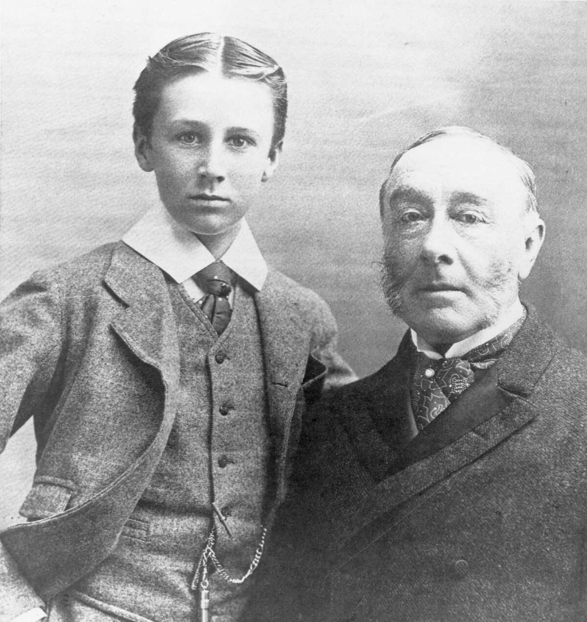 Franklin Delano Roosevelt with his father, James.