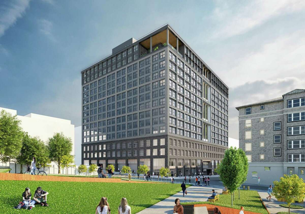 A $300 million gift to UC Berkeley will pay for a 14-story dorm, rendered here, to house 772 transfer students at Walnut Street and Berkeley Way in Berkeley.