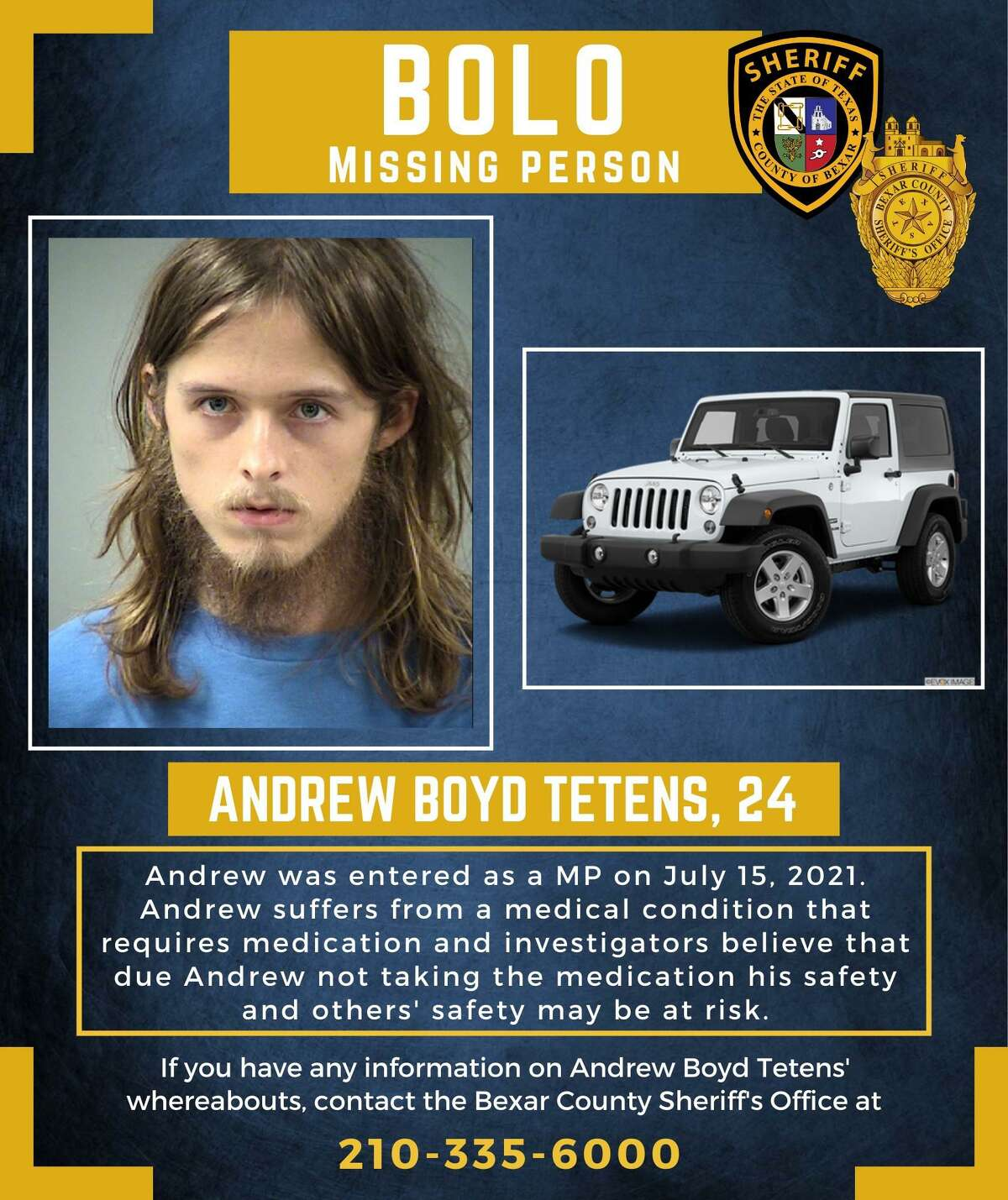 Andrew Boyd Tetens has been declared a missing person. Police believe Tetens lived at a home where a woman was found dead.