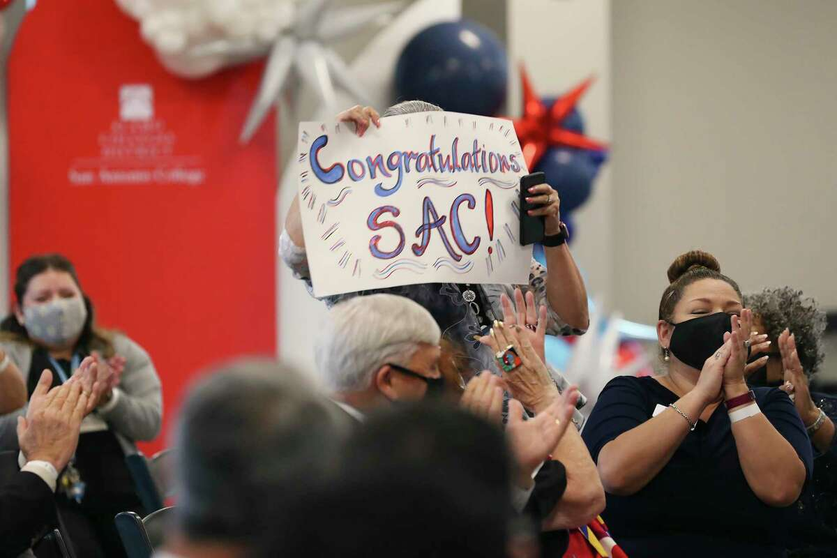 The crowd celebrates the naming of San Antonio Colleges as the top community college in the U.S. by the Aspen Institute in May. The Texas Legislature passed workforce development programs that require collaboration between employers, high schools and community and technical colleges.