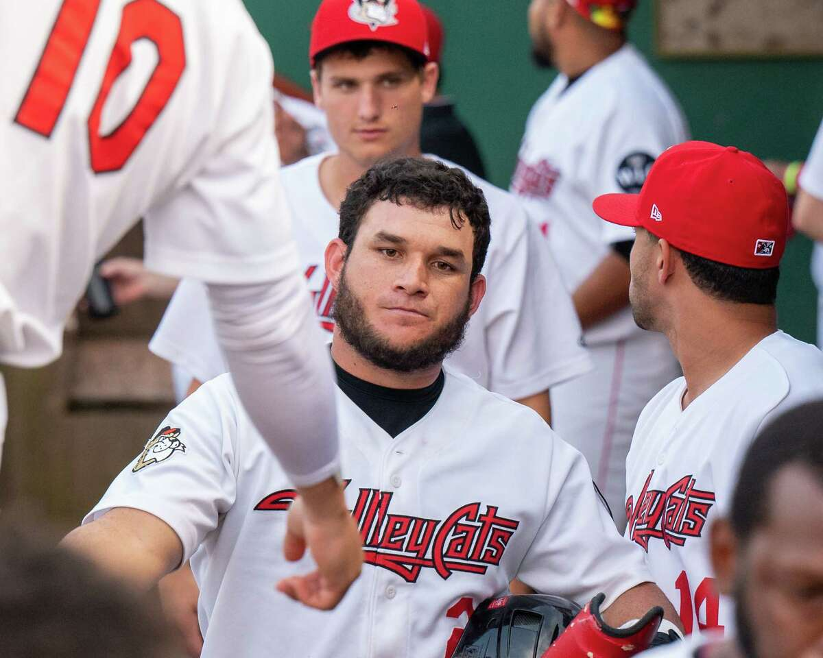 Tri-City's Oscar Campos is congratulated after hitting a sacrifice fly for an RBI against the Washington Wild Things at Joseph L. Bruno Stadium on July 15, 2021. Campos was signed by the Mets on Thursday.