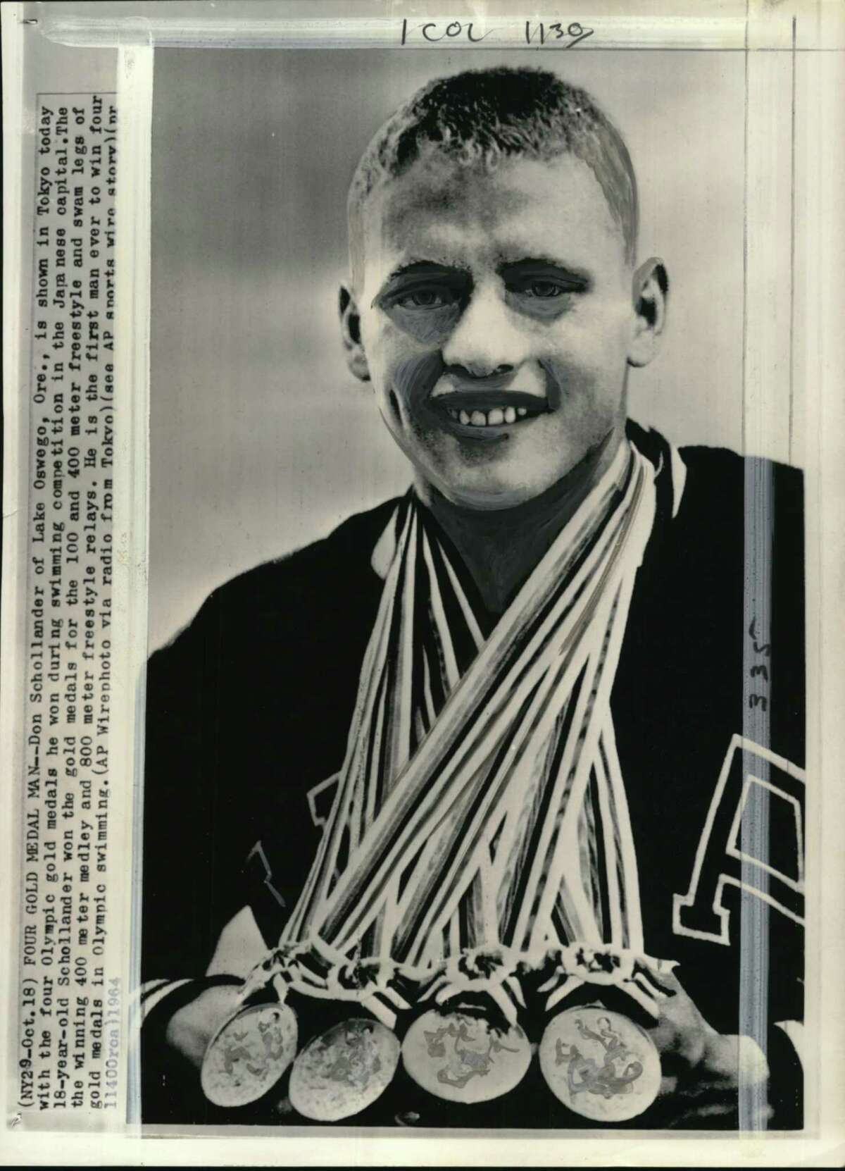 Don Schollander won four Olympic gold medals for the 100 and 400 meter freestyle and swam legs of the winning 400 meter medley and 800 meter freestyle relays in 1964.
