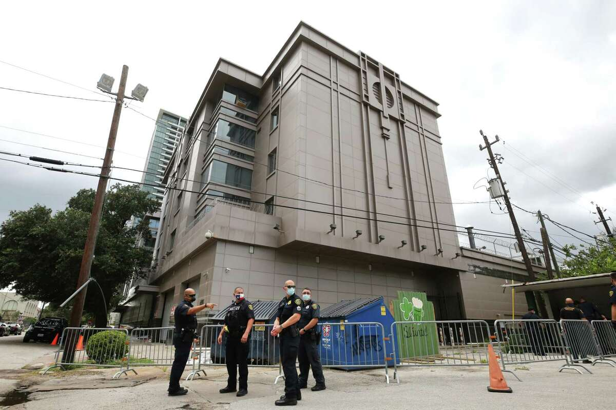 Police install barricades outside Houston's Chinese Consulate on July 24, 2020, after the U.S. government ordered it closed.
