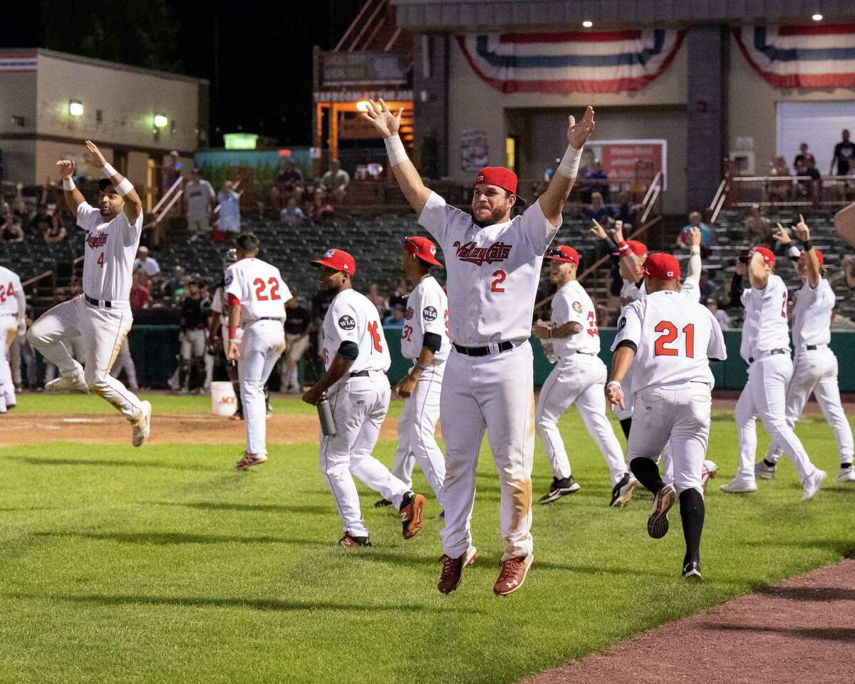 The Tri-City ValleyCats celebrate after right fielder Willy Garcia hits the game winning home run during a home run derby to break a tie with the Washington Wild Things at Joseph L. Bruno Stadium on the Hudson Valley Community College Campus in Troy, NY, on Thursday, July 15, 2021. (Jim Franco/Special to the Times Union)