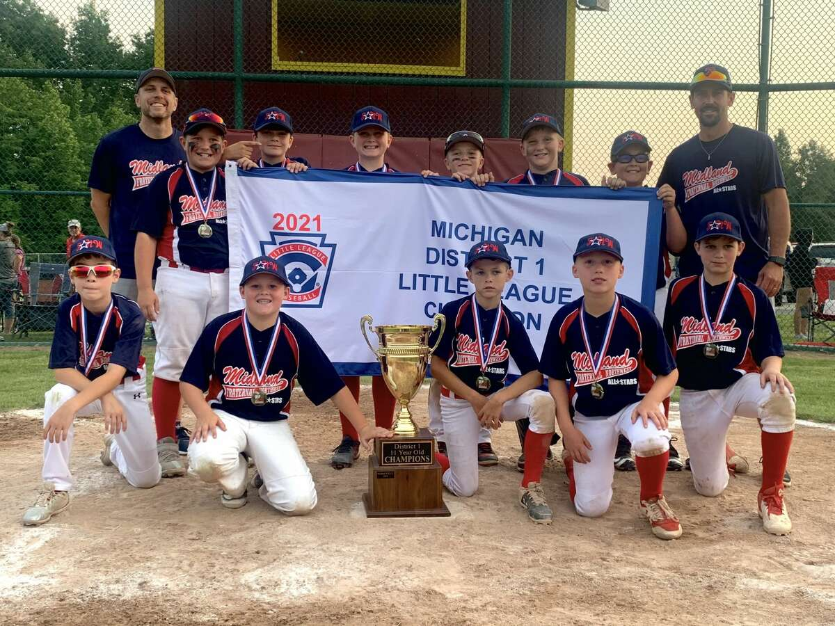 Members of Fraternal Northwest pose with the trophy after beating Union Township 10-4 in the Little League Baseball 11-and-under district tournament championship game on Thursday, July 15, 2021.