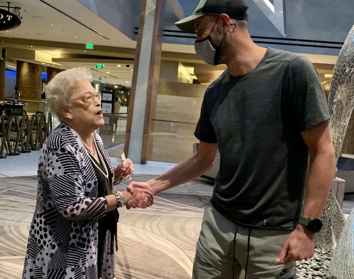 Manu Ginobili with Vasquez family matriarch Alicia Vasquez in Las Vegas.