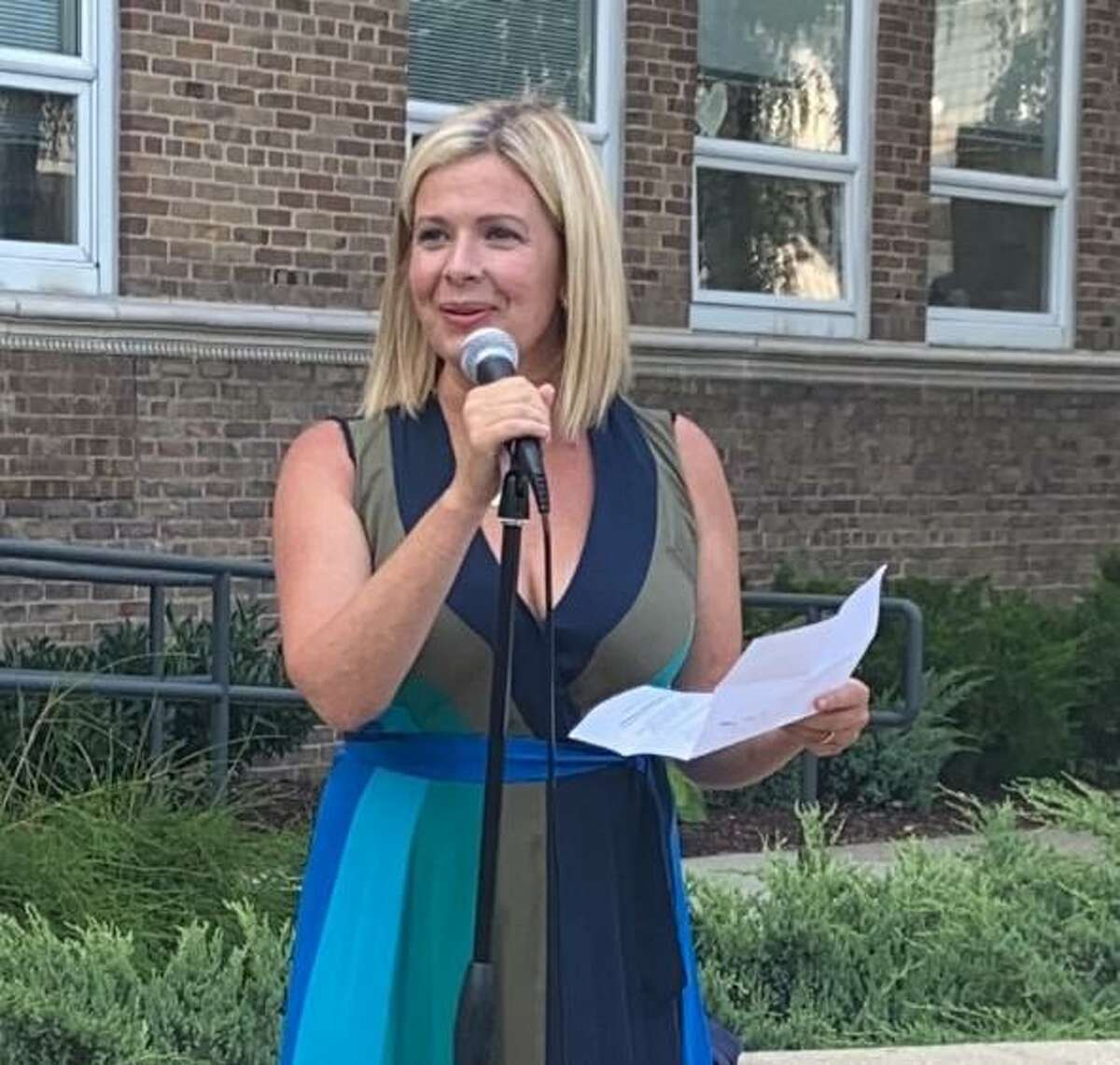 Tara Ochman, a Democrat, announced her candidacy for first selectman in front of Darien Town Hall Thursday, July 15, 2021.
