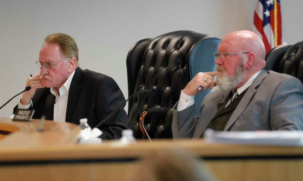 Montgomery County Judge Mark Keough, left, and Precinct 2 Commissioner Charlie Riley, along with fellow commissioners are headed into budget workshops next week with a preliminary budget of $376 million, a 7.4 percent increase over 2021.