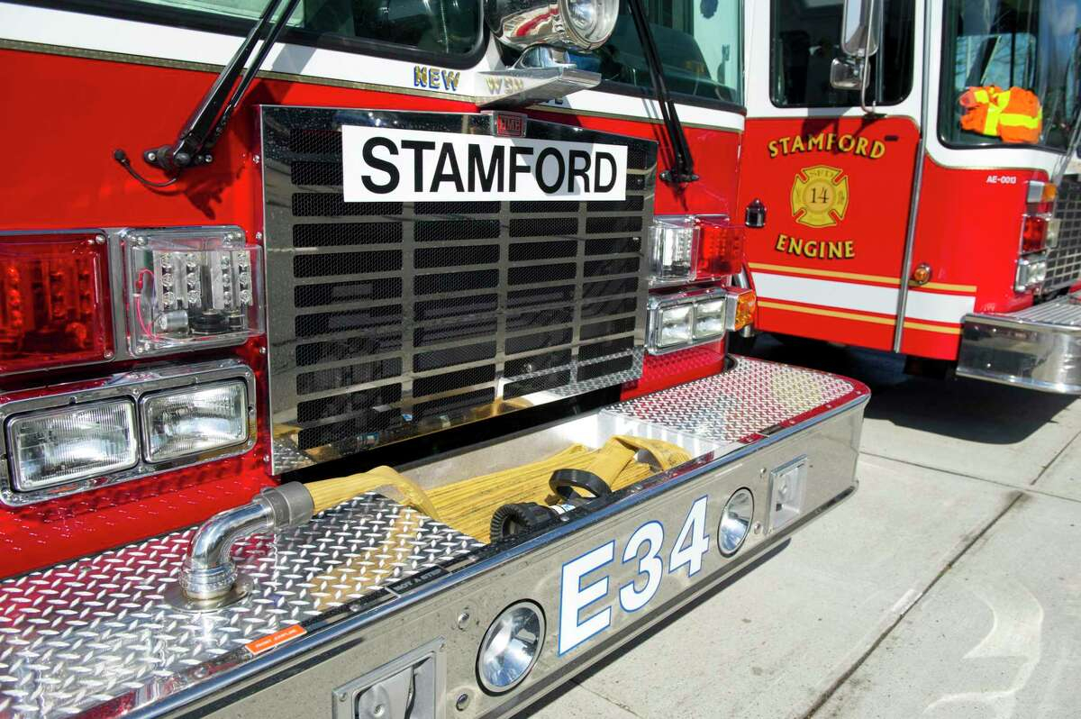 A large magnet indicates that Glenbrook's engine 34 is currently serving as Stamford Fire Rescue engine 5 at Woodside on Wednesday, April 3, 2013.