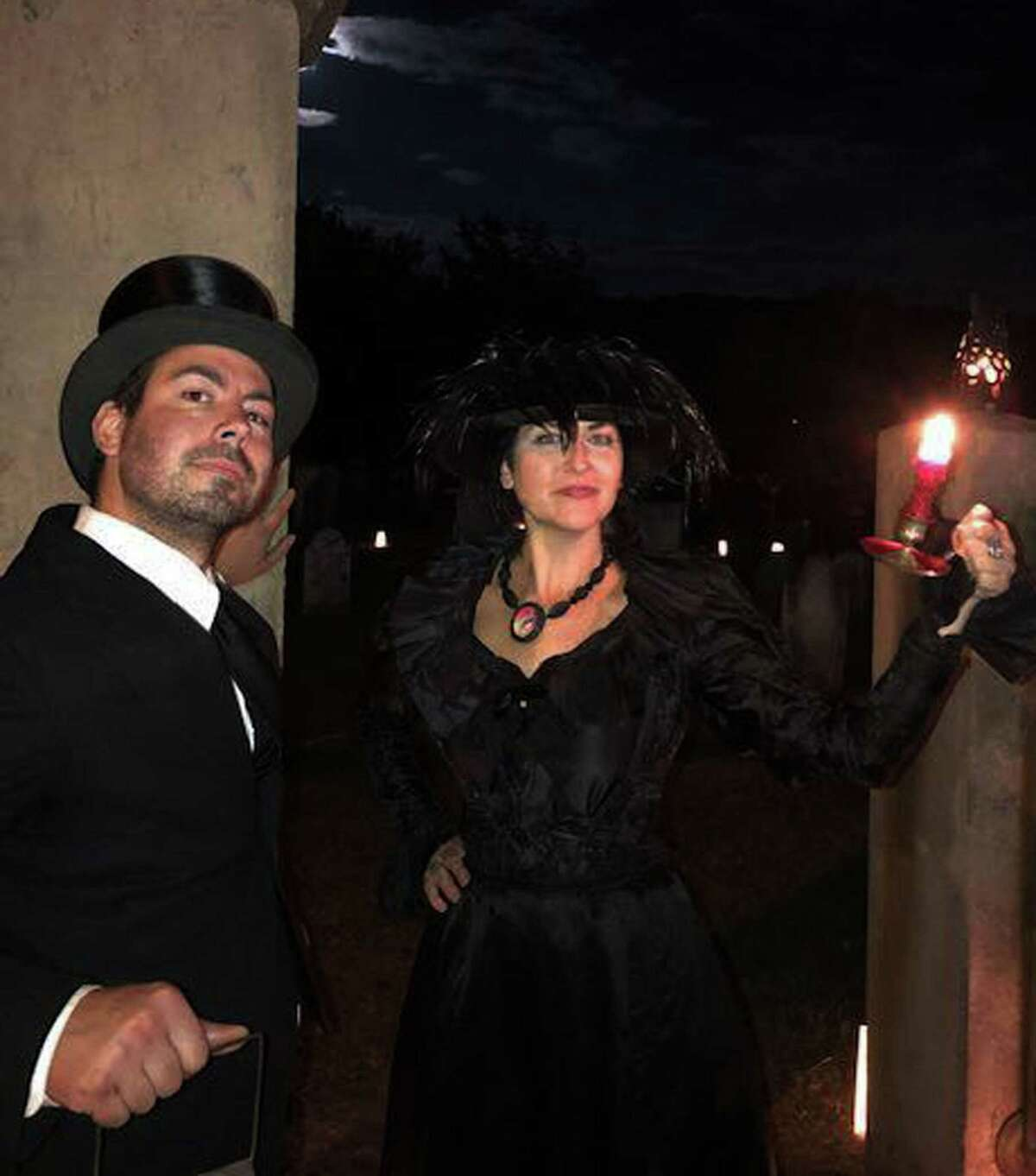 New Milford Historical Society and Museum Board Member Justin Krul and friend Susan Snow serve as charismatic gatekeepers for a past cemetery tour.
