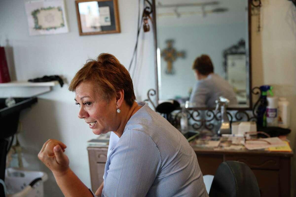 Cruz Parada, who owns a salon, talks about the impact of Blue Origin's presence Thursday, July 1, 2021, in Van Horn.