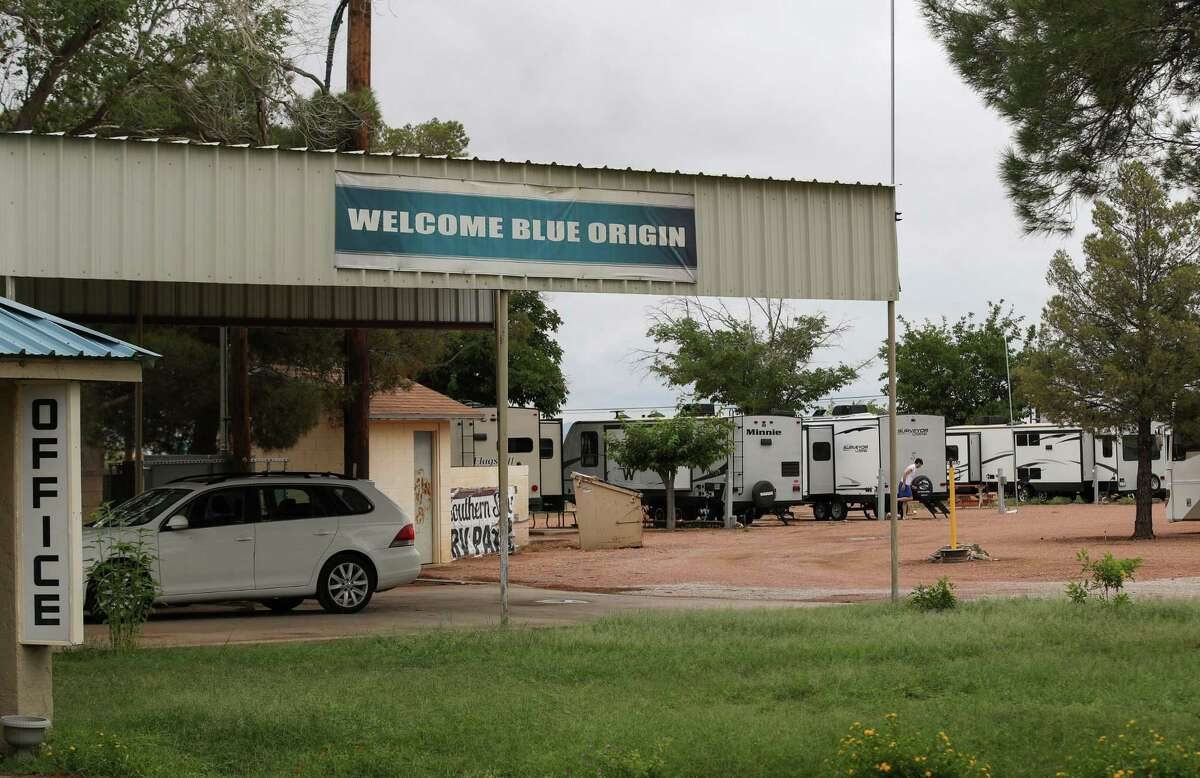 A banner welcoming Blue Origin employees is displayed Tuesday, June 29, 2021, at the Southern Star RV Park in Van Horn.