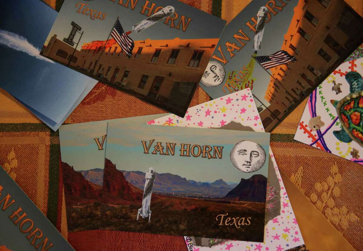 Handmade postcards, made by Patricia Golden, are displayed on a table Friday, July 2, 2021, at the Clark HotelHistorical Museum in Van Horn. Blue Origin has built launch facilities nearby.