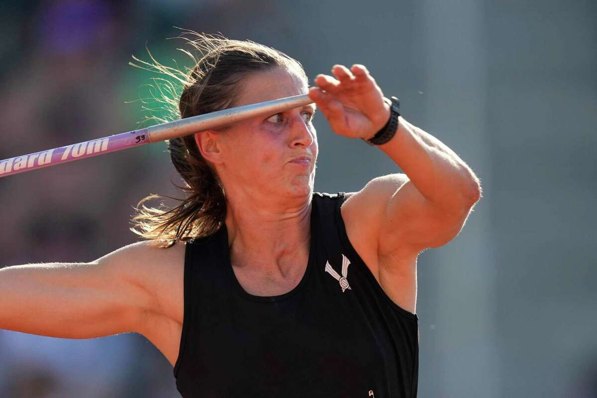 Ariana Ince competes during the finals of the women's javelin throw at the U.S. Olympic Track and Field Trials Saturday, June 26, 2021, in Eugene, Ore.