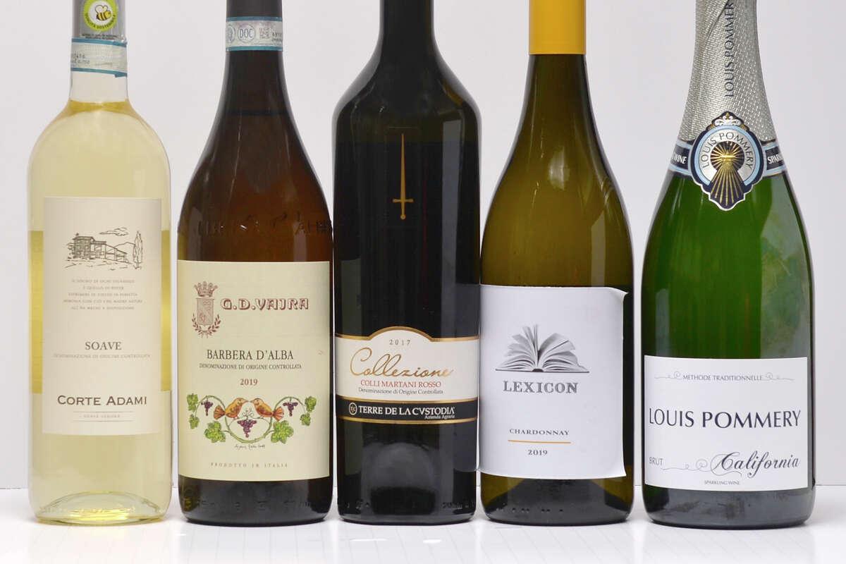 From left, Corte Adami Soave 2020; G.D. Vajra Barbera d'Alba 2019; Terre de la Custodia Collezione Colli Martani Rosso 2017; Lexicon Chardonnay 2019 and Louis Pommery Brut.