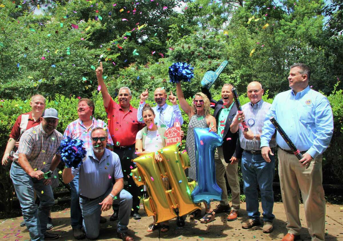 Conroe Noon Lions Club members celebrated being No. 1 in the USA. On July 1, the club became the largest club beating out the Seal Beach Lions Club (CA) ending the Lions year with 307 members.