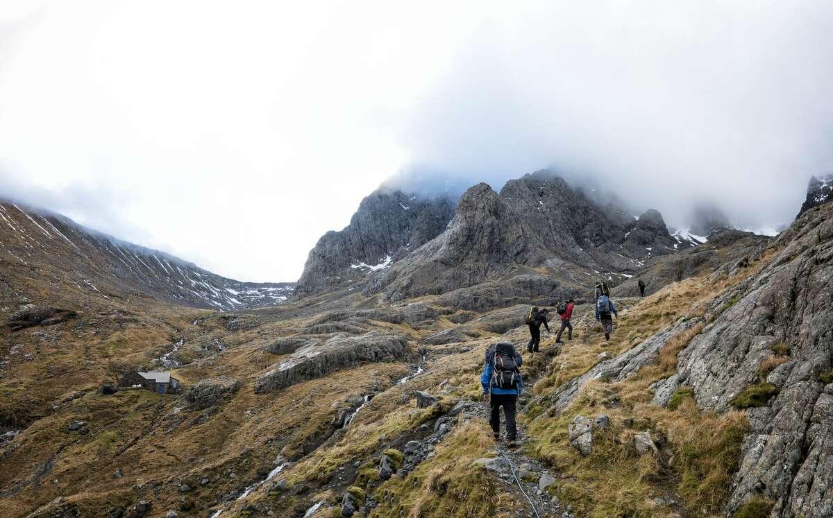 Hikers on Ben Nevis, Scotland.