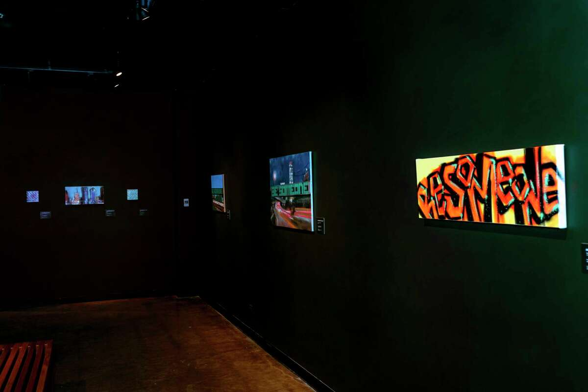 """The artist behind Houston's popular """"Be Someone"""" graffiti art over I-45 will have work on display in an exhibit at the University of Houston-Clear Lake's Art Gallery through Aug. 20."""