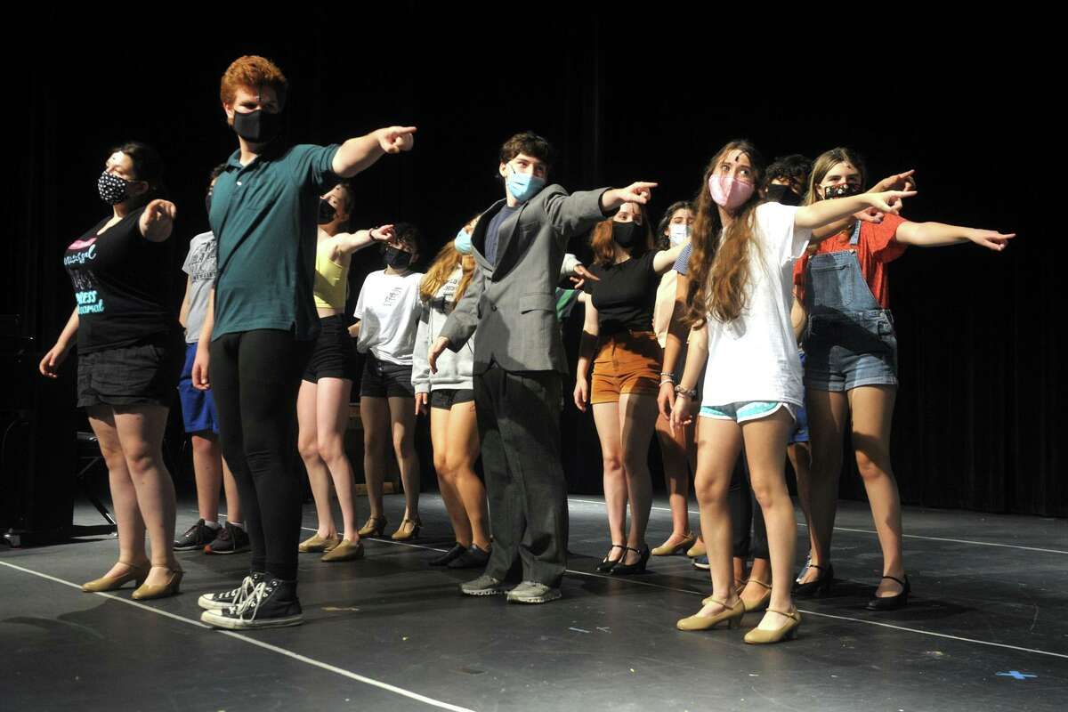 Members of the Fairfield Teen Theatre rehearse for the musical production of Curtains Young@part at Fairfield Woods Middle School in Fairfield on July 13. The show will open at the school on Friday and is one of three productions FTT is presenting this summer.