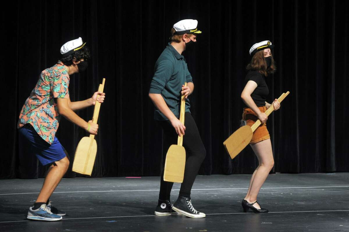 Members of the Fairfield Teen Theatre rehearse for the musical production of Curtains Young@part at Fairfield Woods Middle School, in Fairfield, Conn. July 13, 2021. The show will open at the school on Friday and is one of three productions FTT is presenting this summer.