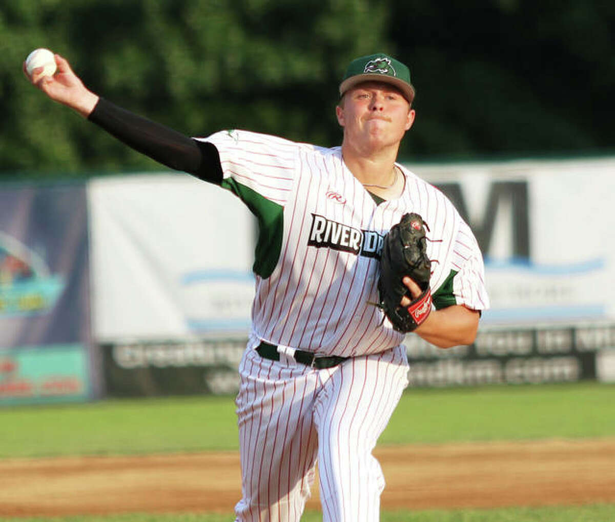 Alton pitcher Adam Stilts got the win on the mound for the River Dragons in Thursday night's 7-2 victory over the cape Catfish in Cape Girardeau, Mo. He pitched 6.2 innings, scattered 11 hits, allowed two earned runs, struck out one and walked two.
