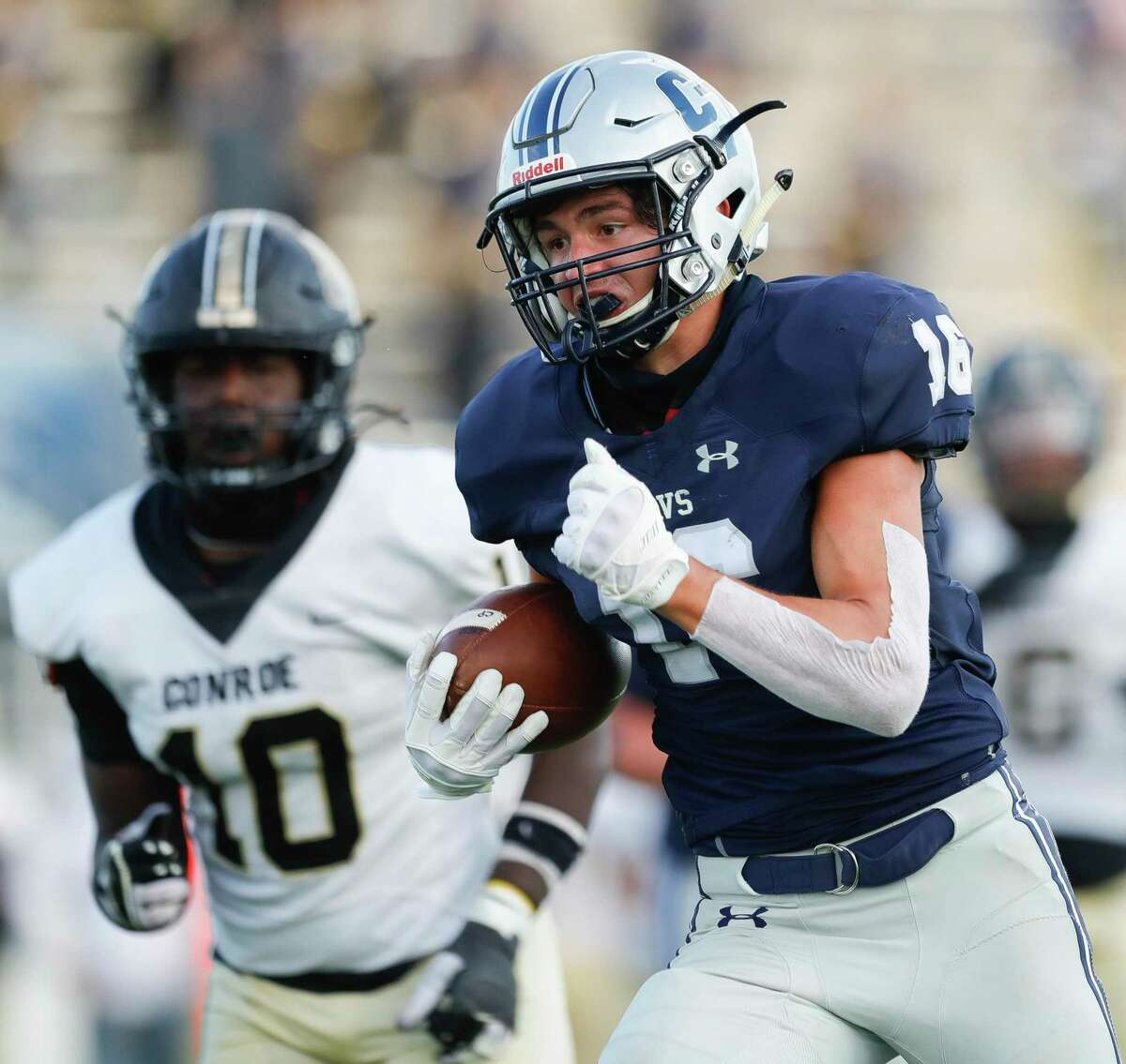 College Park wide receiver Alex Brigman (16) leads a deep group of receivers for the Cavaliers.