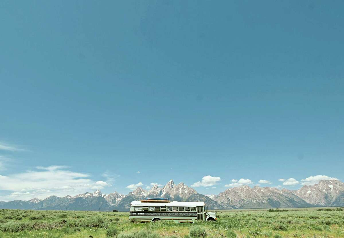 The bus last month in Grand Teton National Park. The three women renovated it and took it on the road.
