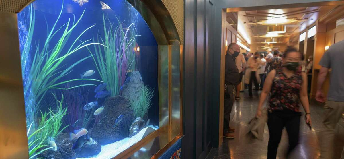 """The aquarium in the lobby of the Majestic Theatre was moved as part of the recent renovation of the orchestra-level bar. """"It was faithfully restored to how it was back in 1929, just pushed-back to give more space and present a bigger, more welcoming picture to our guest,"""" said Marketing Director Brittney Garcia."""
