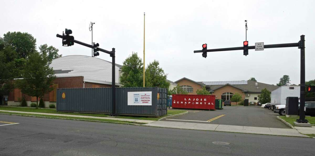 Construction on the annex to Ellsworth Avenue School. Seven classrooms to the Family & Community Engagement Center, on Osborne Street, and then connect the two buildings. Wednesday, July 14, 2021, in Danbury, Conn.
