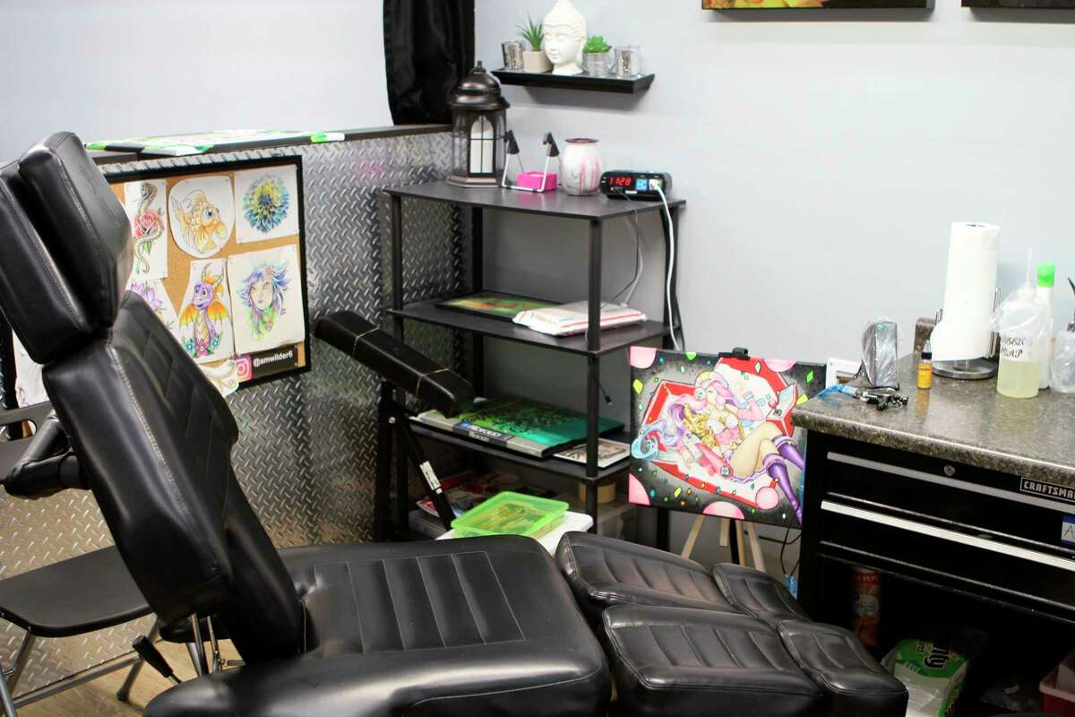 Tattoo station inside of Dawg Tags Tattoo Parlor. Owner Dennis Cook said he prefers if each artist has their own station to make custom. (Pioneer photo/Gena Harris)