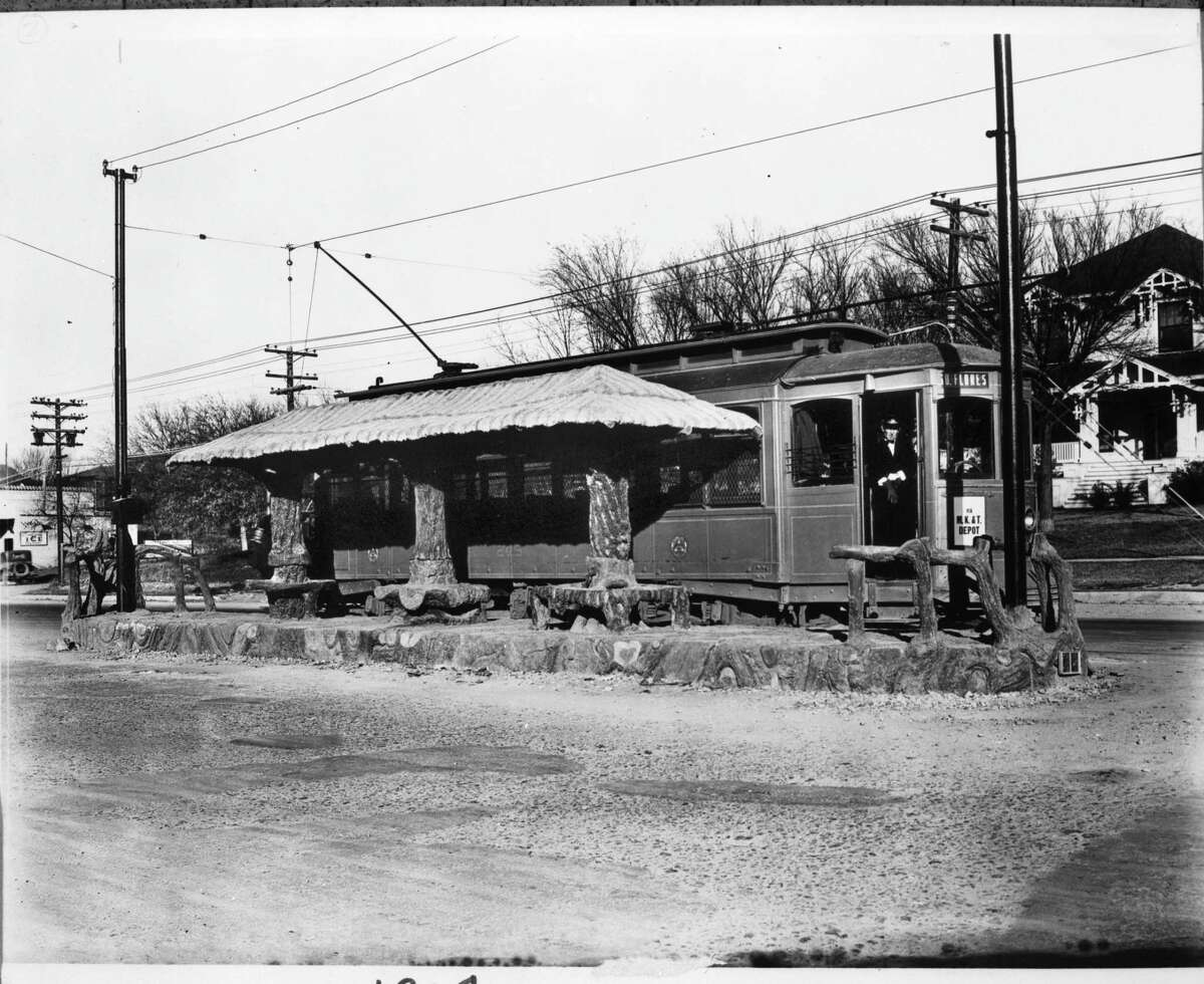 In this 1929 photo, streetcar 245 waits at the stop designed by Dionicio Rodríguez at the corner of Broadway and Patterson Avenue in Alamo Heights. Originally built in 1927, the streetcar stop is now a bus stop.