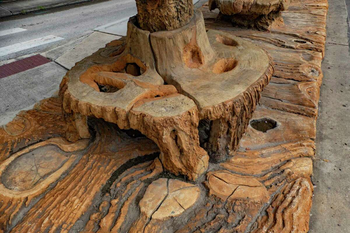 """Dionicio Rodríguez's """"tree trunk"""" streetcar stop is part of the National Register of Historic Places."""
