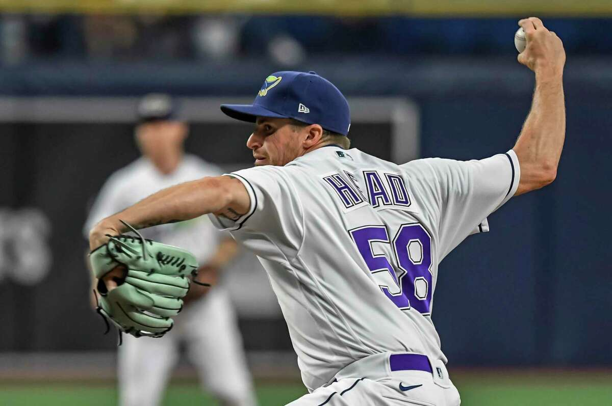 Tampa Bay Rays reliever Louis Head pitches during a baseball game against the Los Angeles Angels Saturday, June 26, 2021, in St. Petersburg, Fla. (AP Photo/Steve Nesius)