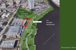 The development site would be behind the existing BNSF railroad track and give a view of the Neches River while connecting to the existing Beaumont Civic Center parking lot.