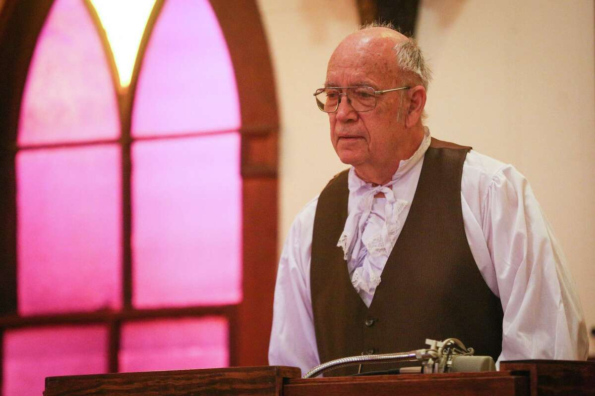Montgomery resident Billy Ray Duncan re-enacts a speech as Gen. Sam Houston for the Texas Independence Trail on Friday, March, 3, 2017, at Montgomery Baptist Church.