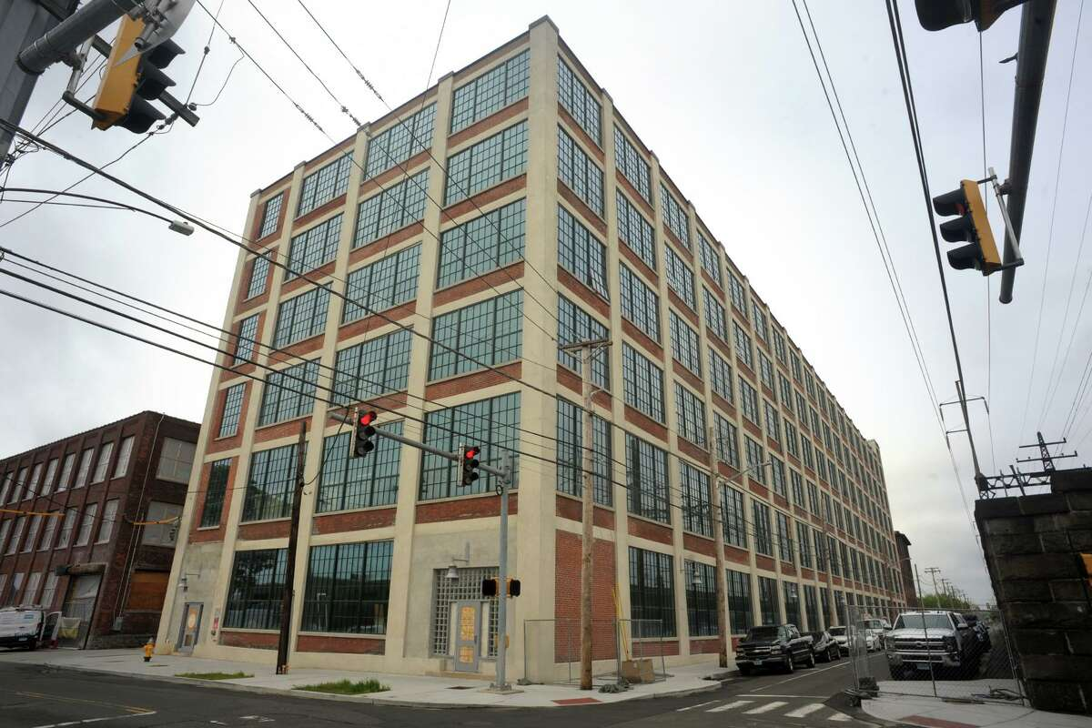 A 2019 file photo showing the Cherry Street Lofts complex under construction in the former American Gramaphone Co. factory in Bridgeport, Conn.
