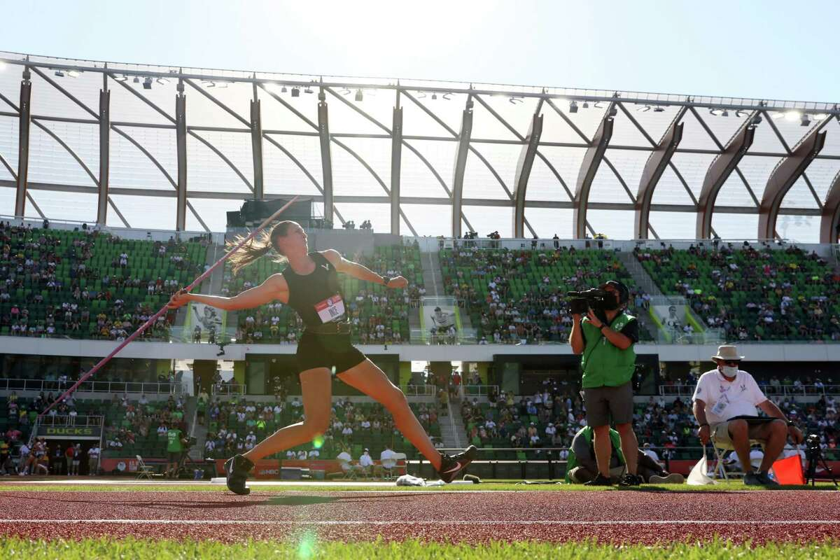 Ariana Ince competes in the Women's Javelin Throw Final on day nine of the 2020 U.S. Olympic Track & Field Team Trials at Hayward Field on June 26, 2021 in Eugene, Oregon.