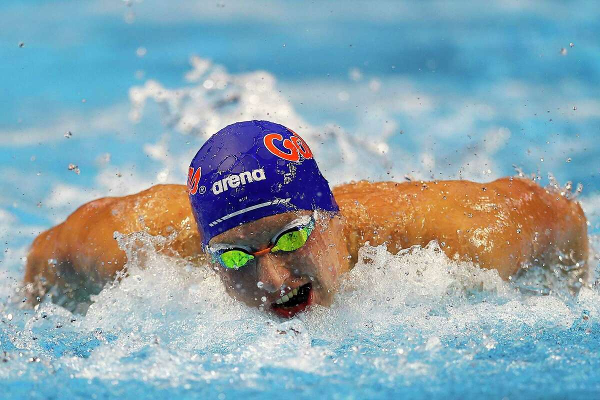 OMAHA, NEBRASKA - JUNE 17: Kieran Smith of the United States competes in a semifinal heat for the Men's 200m individual medley during Day Five of the 2021 U.S. Olympic Team Swimming Trials at CHI Health Center on June 17, 2021 in Omaha, Nebraska. (Photo by Maddie Meyer/Getty Images)
