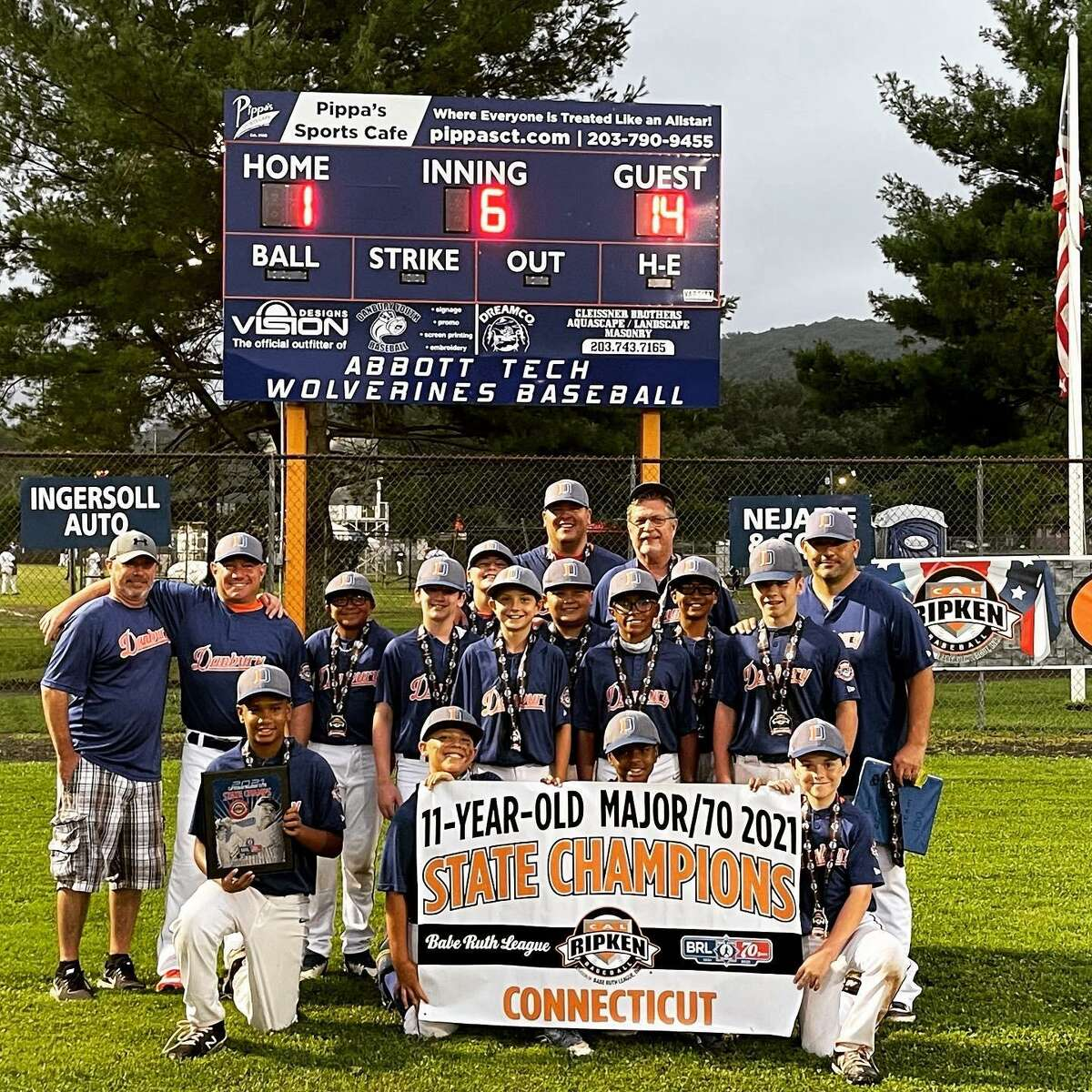 The Danbury 11, and under baseball team recently beat Greenwich 14-1 at Rogers Park in Danbury in the 2021 state championship. Pictured in the front row are: Ezequiel Cueto; Lawrence Roccamo; Aiden Martin, and Jack Eriquez. Pictured in the back row are: Jaxon Lopez, Jimmy Bianco; Finn Cline; Caden Amalfitano; Izaiah Scalzo; Noah Richardson; Andrew Huizinga, and Bobby Mariano.