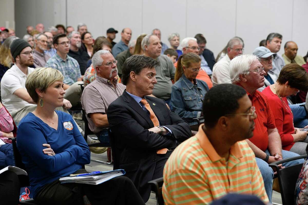 Residents pack the meeting room for a public forum on the Orange County Hospital District election at Lamar State College-Orange on Thursday evening. Photo taken Thursday 11/30/17 Ryan Pelham/The Enterprise