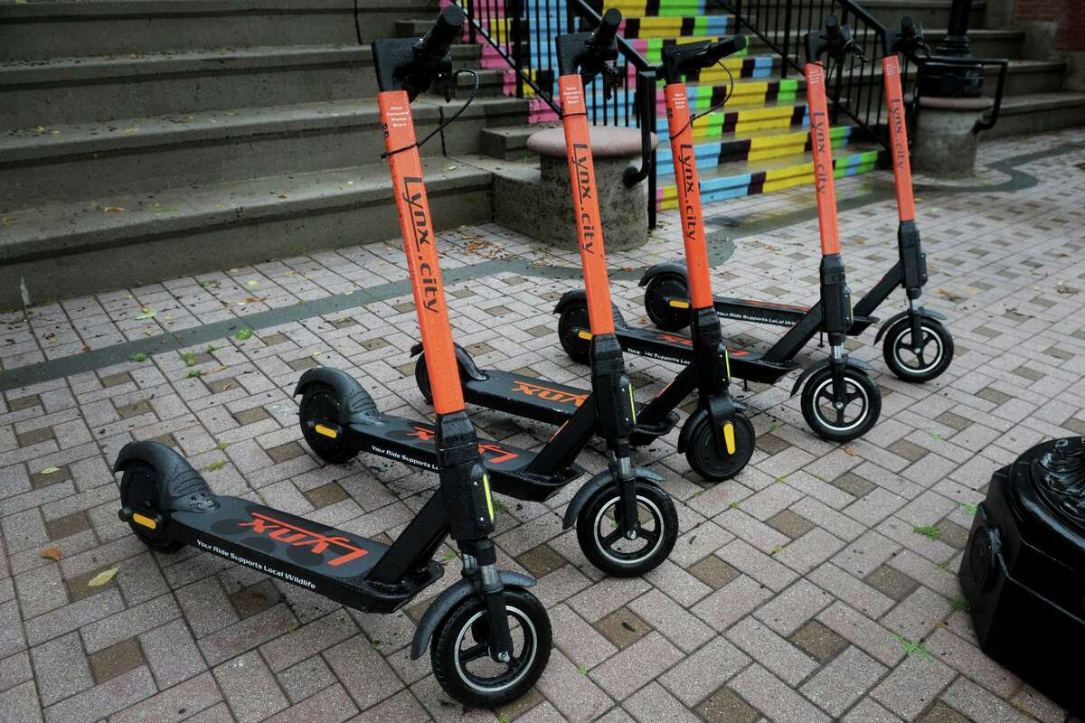 Lynx electric scooters are currently available for rent in Bridgeport, Conn., seen here June 30, 2020.
