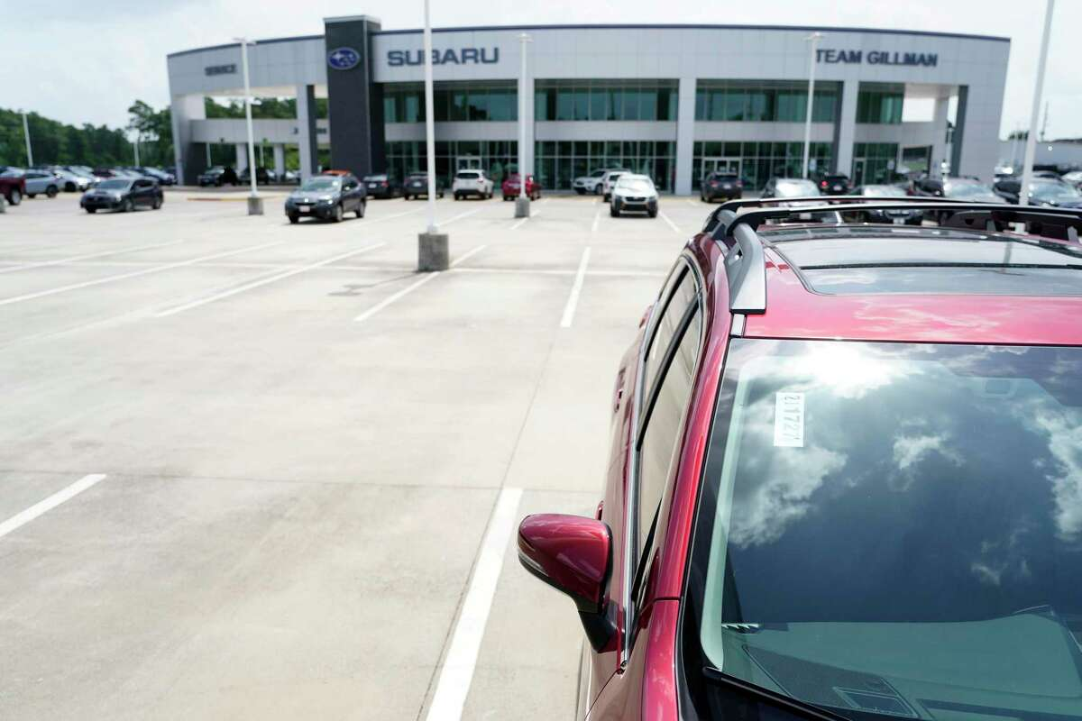 Low inventory of new vehicles at Team Gillman Subaru North 18202 North Fwy., is shown Friday, July 16, 2021 in Houston.