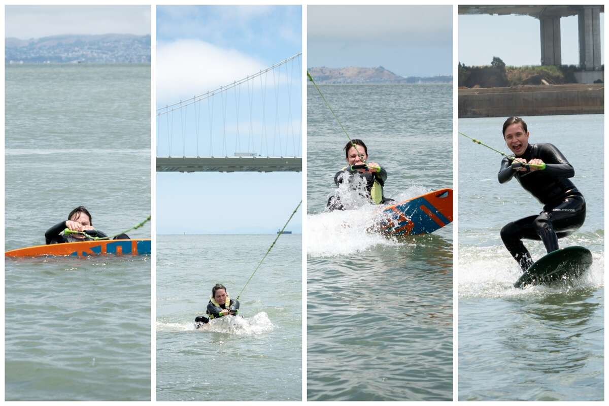 SFGATE features reporter Michelle Robertson attempts to foilboard on the bay on July 15, 2021.