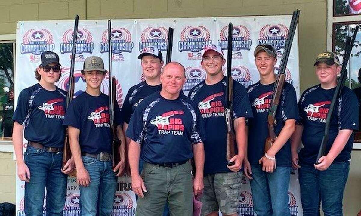 TheBig Rapids trapshooting team is from, left to right, Noah Brandt, Peter Ruttan, Joe MacFarlane, Ben Upham (coach), Jake Knopf, Landen Bittner and Luke Roberts. (Courtesy team)