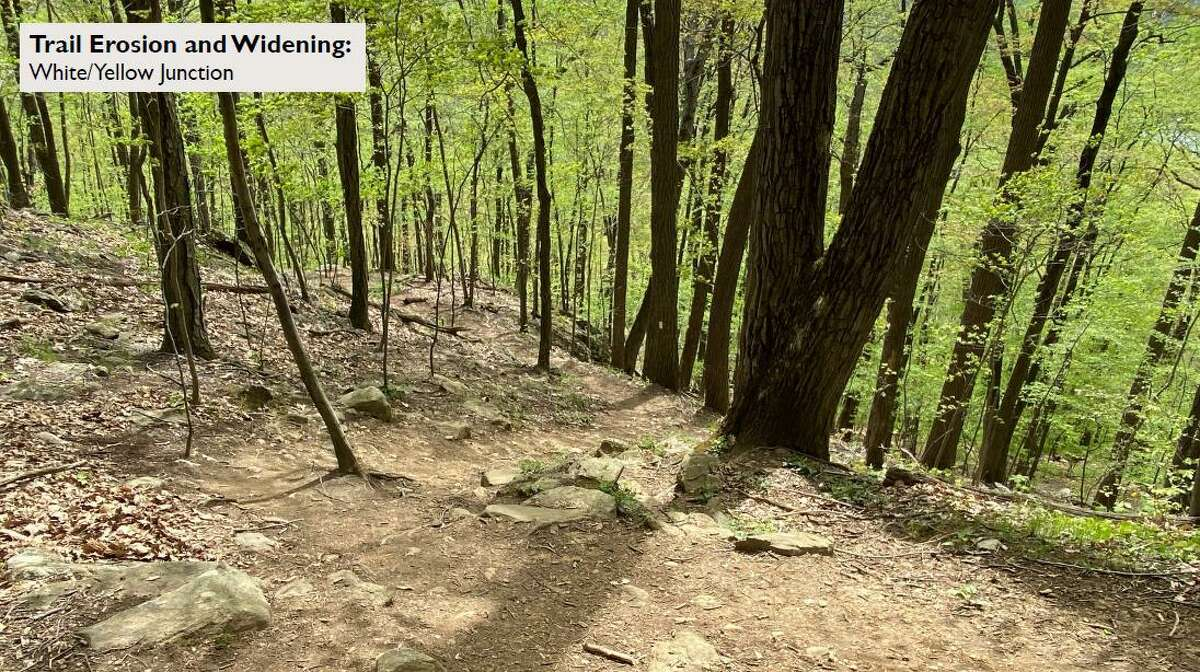 A group of cyclist are installing a new trail at the Pierrepont State Park in Ridgefield.