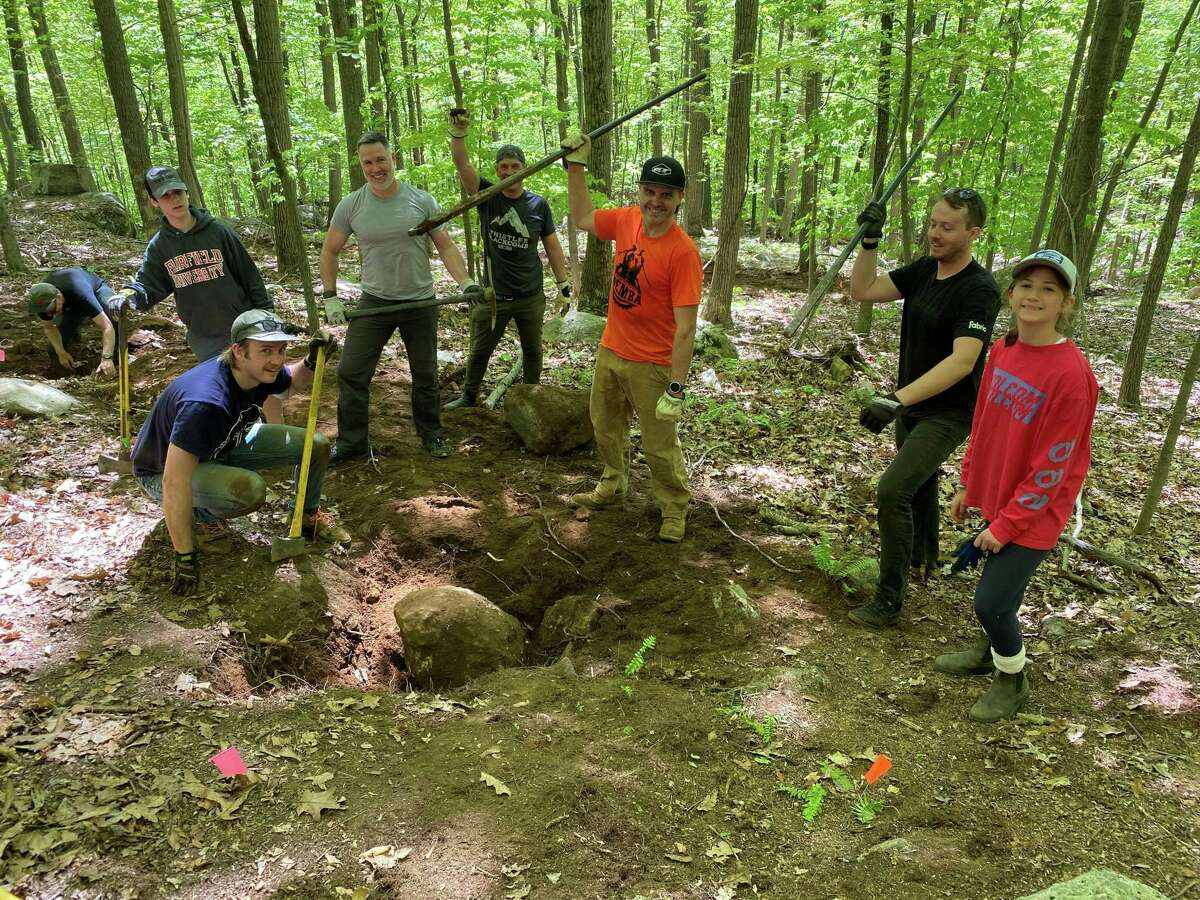 Photos of a new trail installed at Pierrepont State Park by volunteer cyclists in the Ridgefield-area.