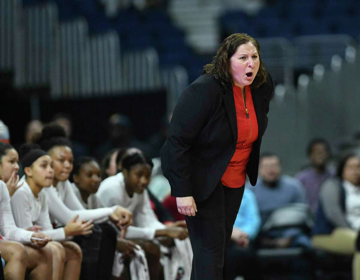 Judson head coach Triva Corrales encourages her team during Class 6A girls state championship game action against DeSoto in the Alamodome on Saturday, March 2, 2019.