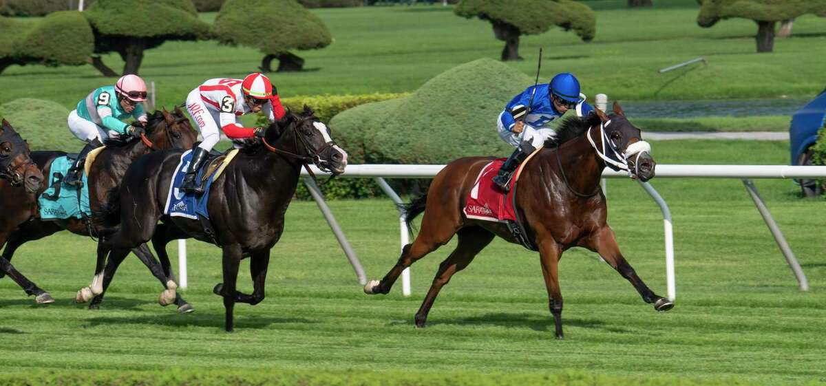 Rinaldi, ridden by Luis Saez #1 goes gate to wire to win the 7th running of the Forbidden Apple Stakes at the Saratoga Race Course Friday July 16, 2021 in Saratoga Springs, N.Y. . Photo Special To the Times Union by Skip Dickstein